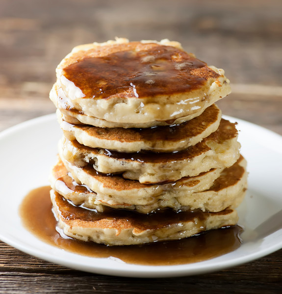 Banana Pancakes with Maple Rum Syrup