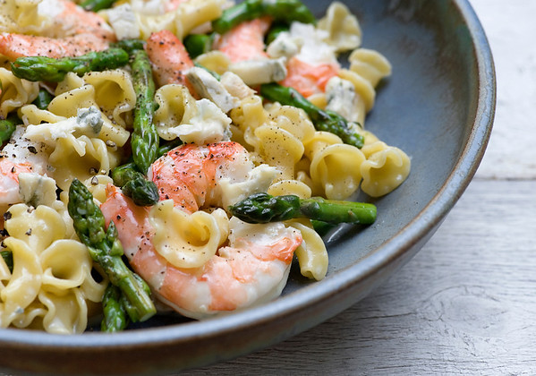 Warm Shrimp and Blue Cheese Pasta Salad