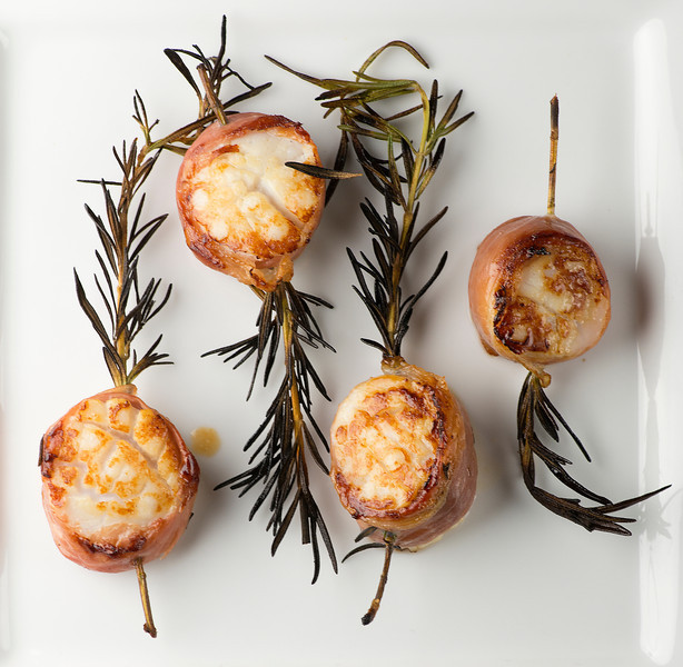 scallops grilled on rosemary skewers