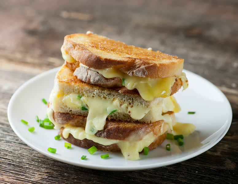 grilled cheese sandwiches with mustard and chives